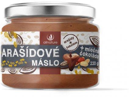 Arašídové máslo s mléčnou čokoládou 220g Allnature