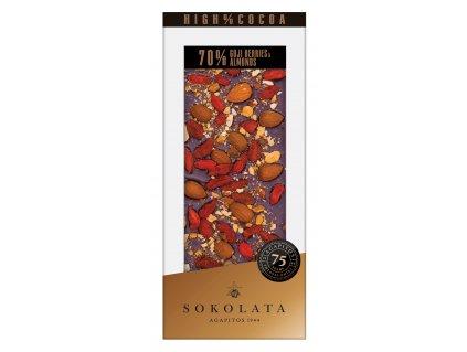 70% hořká čokoláda s Goji a mandlemi 100g SOKOLATA AGAPITOS