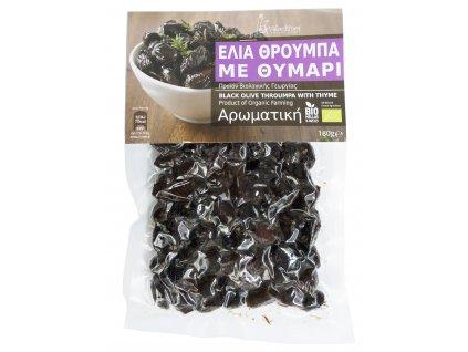 Family farms BIO olivy Throumpa z Thassosu s tymiánem 180gr Velouitinos