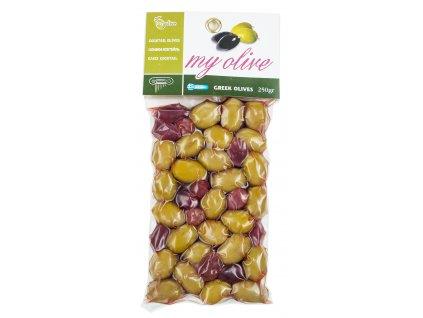Mix řeckých zelených a kalamon oliv 250g MY OLIVE
