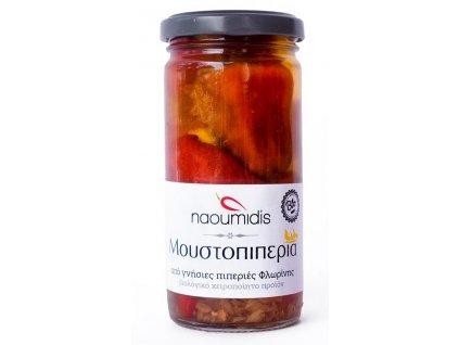 Naoumidis Piperia Florinis Moustopiperia - směsí zeleniny plněné pálivé červené a zelené BIO florina papriky 260g NAOUMIDIS