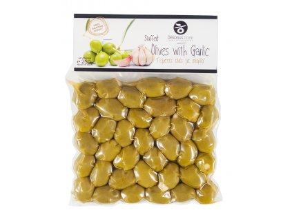 Zelené olivy plněné česnekem 250g DELICIOUS CRETE