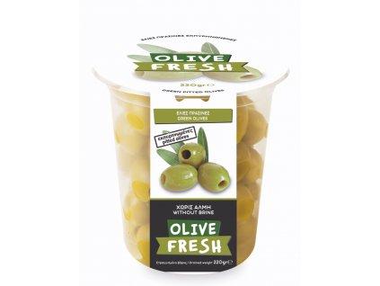 MY OLIVE Zelené řecké olivy bez pecek 220g OLIVE FRESH