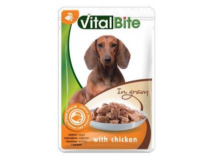 VitalBite kapsa pes s kuřecím ve šťávě 85g-(Balení 28 kusů)