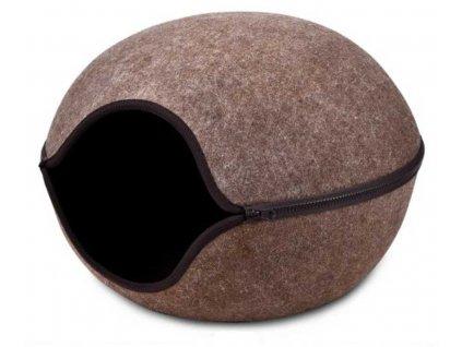 Kukaň pelíšek vchod střed hnědá, 46x46x32,5 cm
