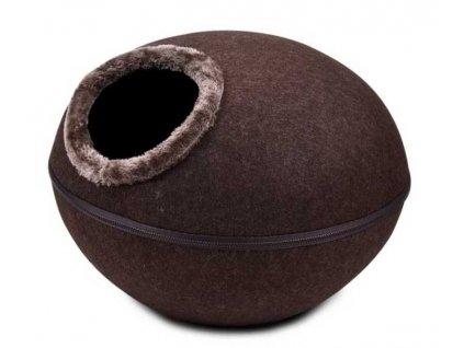 Kukaň pelíšek vchod horní, hnědá 46x46x32,5 cm