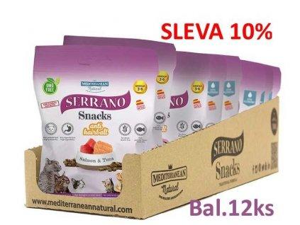 Serrano Snack for Cat-Salmon&Tuna-AntiHairball 50g-12ks