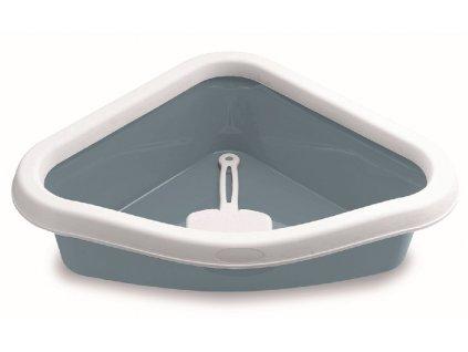 WC rohové s lopatkou modrošedé