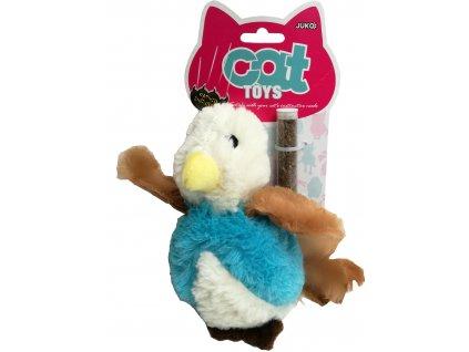 Hračka kočka - plyšový ptáček s peřím a šantou