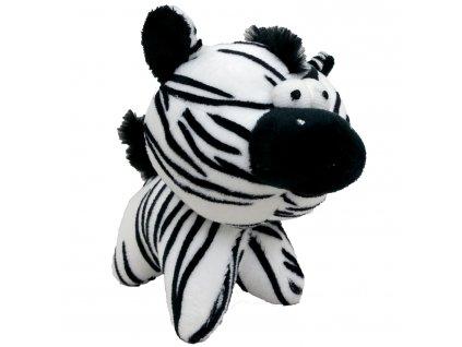 Hračka pes - plyšová zebra pískací 12 cm