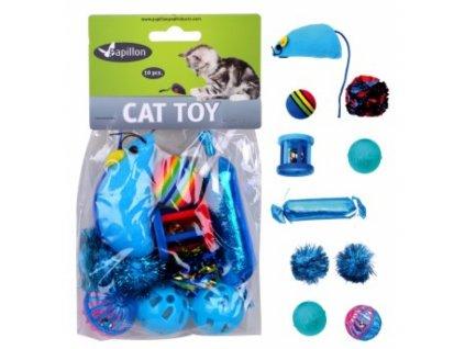 Hračka kočka - modrý mix (10 ks)