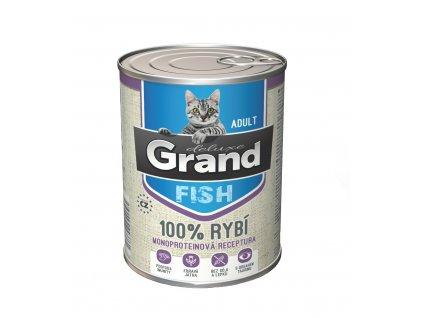 Grand deluxe 100% RYBÍ pro kočku 400g-(Balení 12 kusů)