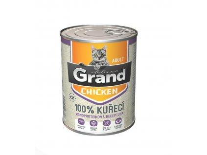 Grand deluxe 100% KUŘECÍ pro kočku 400g-(Balení 6 kusů)