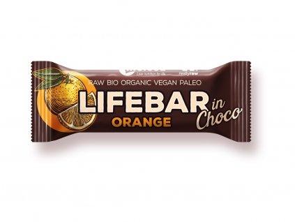 Bio tyčinka Lifebar InChoco Pomeranč 40g Lifefood