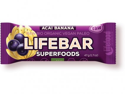 AKCE Bio tyčinka Lifebar Superfoods acai banán 47g Lifefood