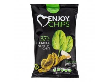 Chipsy bramborové se špenátem a česnekem 40 g ENJOY CHIPS SE