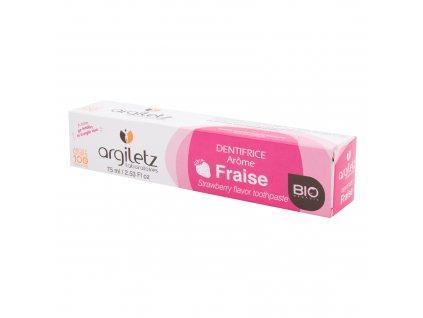 Zubní pasta pro děti s bílým a růžovým jílem jahoda 75 ml BIO ARGILETZ