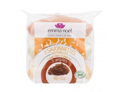 Mýdlo rostlinné jíl 3x150 g BIO EMMA NOËL