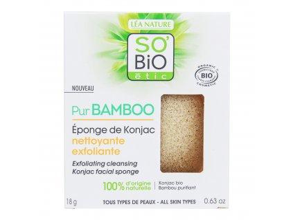 Houbička konjac s bambusem – exfoliační čištění pleti – řada Pur BAMBOO 18 g SO'BiO étic
