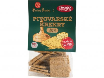Slané krekry s mlátem z plzeňkého Prazdroje se sýrem 100g Biopekárna Zemanka