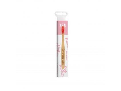 Dětský bambusový zubní kartáček Nordics - růžový