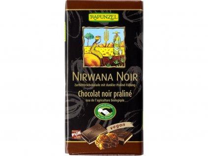 Bio Hořká čokoláda s nugátovou náplní 50% Nirwana Noir 100g Rapunzel