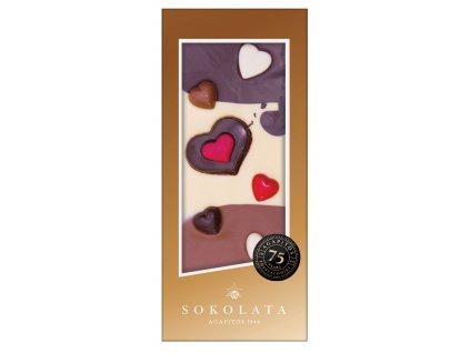 LOVE hořká, mléčná a bílá čokoláda 100g SOKOLATA AGAPITOS vzor: se srdíčky