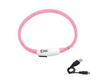 Karlie LED obojek dobíjecí růžová 35 cm