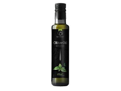 Gourmet Partners Extra panenský olivový olej & BAZALKA, sklo, 0,25 l