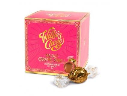 Willie's Cacao Pralinky Caramel Pearls bílé se slaným karamelem a jahodami, 150g