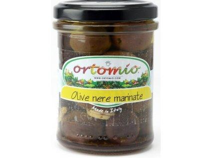 Ortomio Marinováné černé olivy s peckou, 212 ml