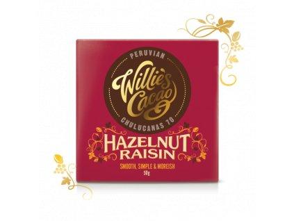 Willie's Cacao Čokoláda Peruvian hořká s lískovými oříšky a rozinkami 70 %, 50g