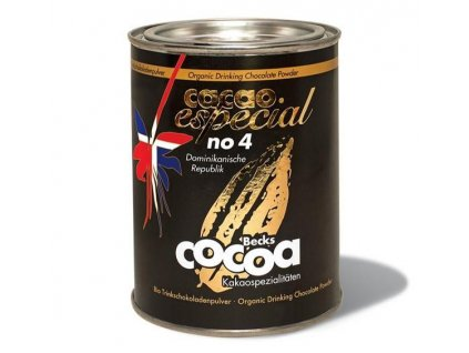 "Becks Cocoa BIO rozpustná čokoláda ""ESPECIAL"" No. 4, z Dom. Rep. 60%, 250g plech"