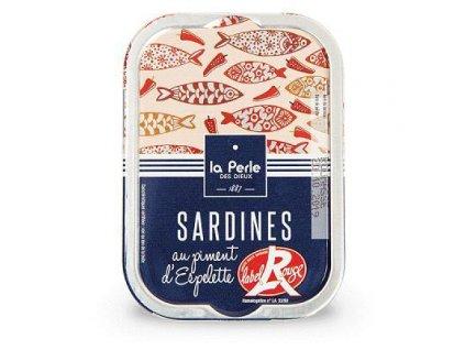 """La Perle Francouzké sardinky """"Label Rouge"""" s Espelette paprikou 115g"""