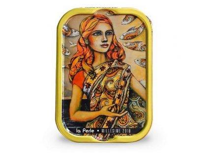 "La Perle Francouzké sardinky v extra panenském oliv.oleji ""Mlle Perle en Inde"" 115g"
