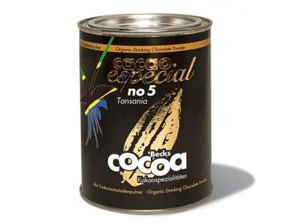 """Becks Cocoa BIO rozpustná čokoláda """"ESPECIAL"""" No. 5, z Tanzanie 72% , 250g plech"""