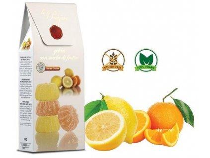 Le Preziose želatinové bonbóny s ovoc.šťávou z kalabrijských pomerančů a citronů, 200g