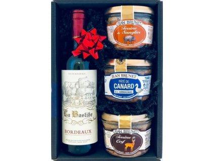 """Gourmet Partners Dárkový koš """"Myslivecký"""" s červeným vínem 0,375"""
