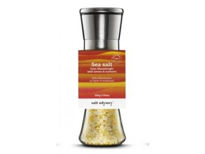 "SALT ODYSSEY Keramický mlýnek s mořskou solí ""CITRON a KURKUMA"", 200g"