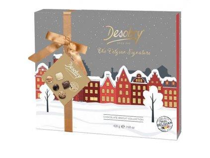 DESOBRY Dárková sada belgických čokoládových sušenek City, 420g