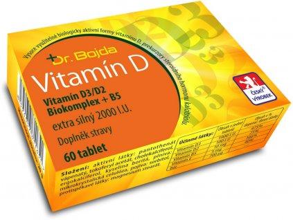 Vitamín D3/D2 Biokomplex + B5 extra silný 2000 I.U. 60tbl. Dr. Bojda