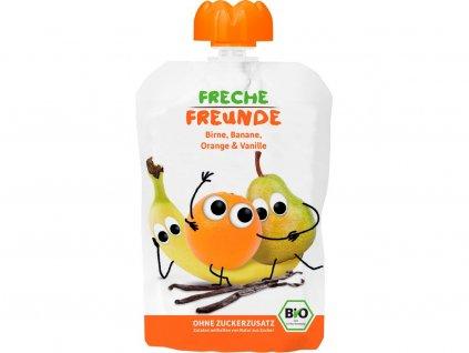 Bio Ovocná kapsička Hruška, banán, pomeranč s vanilkou 100g Freche Freunde