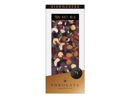 70% hořká čokoláda s ořechy 100gr SOKOLATA AGAPITOS