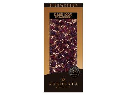 100% hořká čokoláda s brusinkami, quinoa a skořicí 100g SOKOLATA AGAPITOS