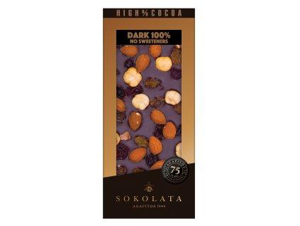 100% hořká čokoláda s mixem ořechů 100g SOKOLATA AGAPITOS