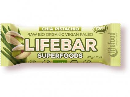 Bio tyčinka Lifebar Superfoods s chia sem. a pistáciemi 47g Lifefood