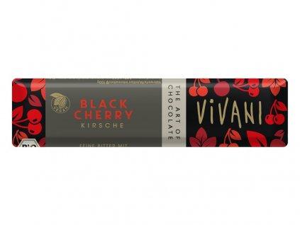 Bio tyčinka Čokoládová hořká s višněmi 35g Vivani
