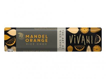 Bio tyčinka Čoko s rýžovým mlékem, mandlemi a pomerančem 35g Vivani