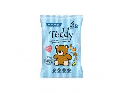 Bio Snack kukuřičný Teddy mrkev a dýně 4x15g Little Angel