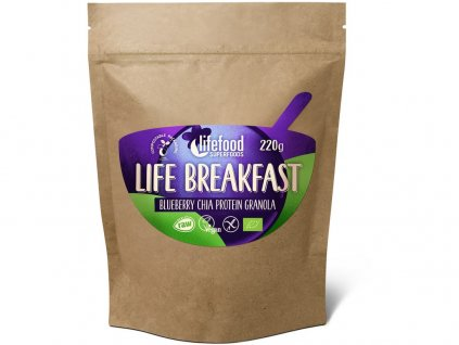 Bio Life breakfast Granola borůvka s chia semínky 220g Lifefood